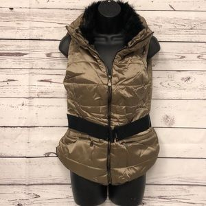 Light brown tan faux fur lined belted puffer vest